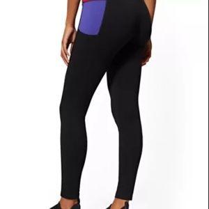 Black Leggings w/Purple & Red Pocket